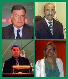 Los últimos cuatro delegados: José Antonio Viera, pepe del Valle, Demetrio Pérez y la actual Carmen Tovar.