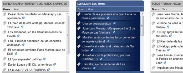 A la izquierda, las noticias de SEVILLA TAURINA ofrecidas por burladero.com.