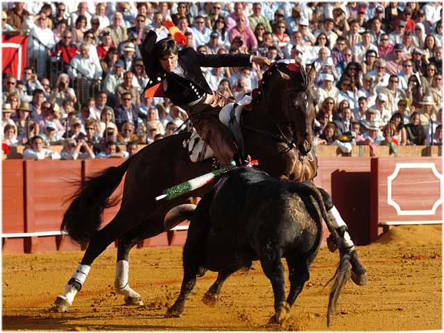 El sevillano, dando los pechos del caballo al toro.