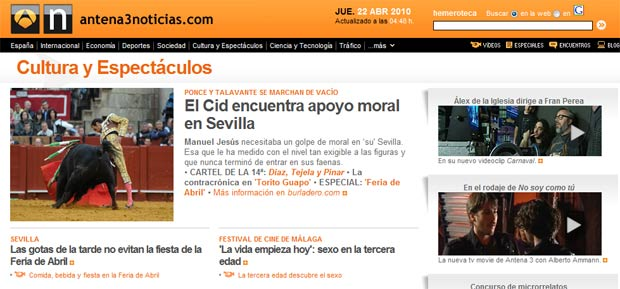 Pantalla de la web de Antena3, con fotos de SEVILLA TAURINA.