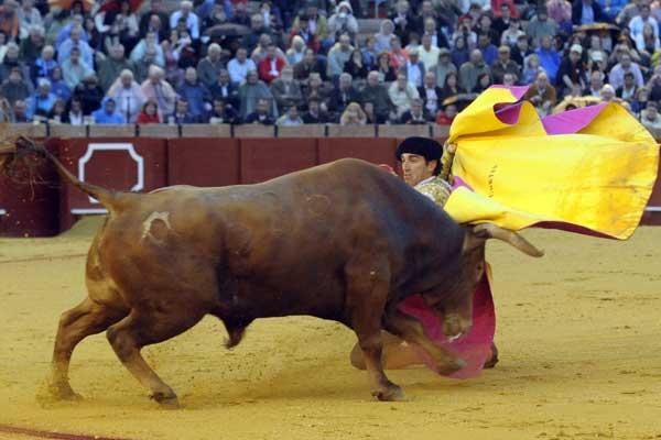Salvador Cortés recibió a sus dos toros a portagayola. (FOTO: Matito)