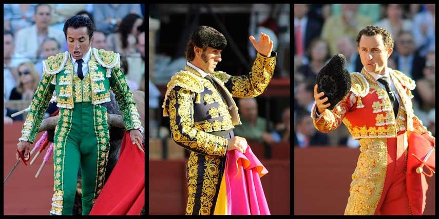 LOS GESTOS: Morante, Talavante y Luque. (FOTOS: Matito)