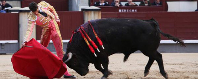 Un muletazo de Luque esta tarde en Las Ventas. (FOTO: burladero.com)
