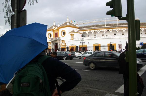 Tarde desapacible en la Maestranza, con paraguas abiertos. (FOTO: Javier Martínez)
