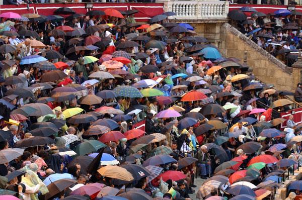 La Maestranza está bonita hasta cuajada de paraguas, cada uno con su estilo distinto. (FOTO: Javier Martínez)