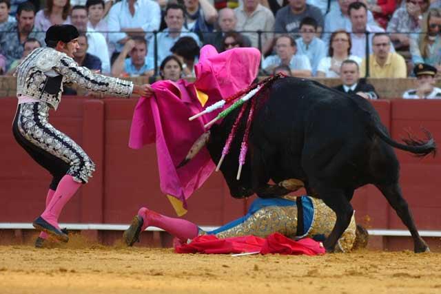 Curro Robles le echó el capote a la cara y evitó la cornada.