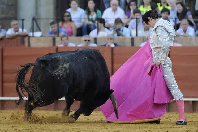 Manuel Larios con el quinto. (FOTO: Sevilla Taurina)