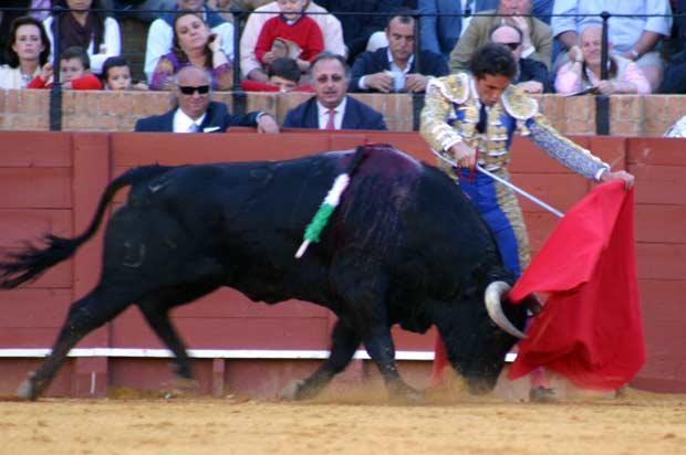 El extremeño, ayudándose con el estoque al torear por la izquierda.