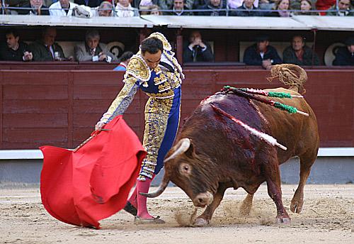Derechazo de El Cid esta tarde en Madrid. (FOTO: Cabrera/burladero.com)