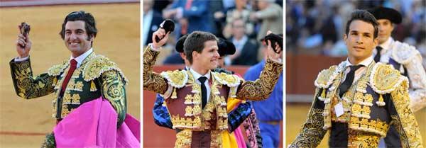 Los triunfadores de la Feria: Morante, Juli y Manzanares. (FOTOS: Matito)
