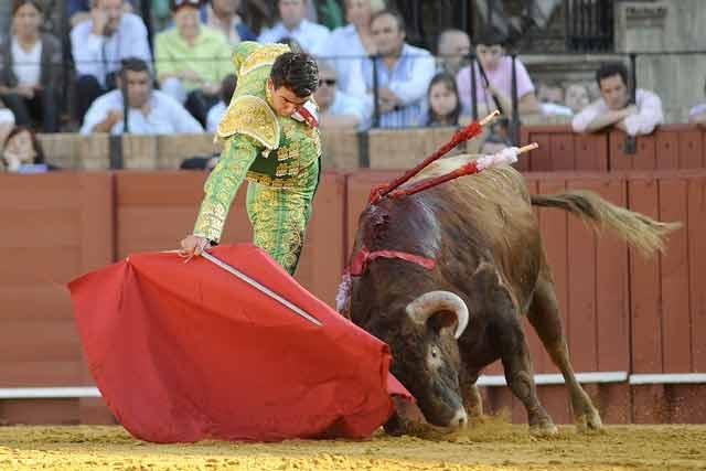 El torero se entona por el lado derecho.