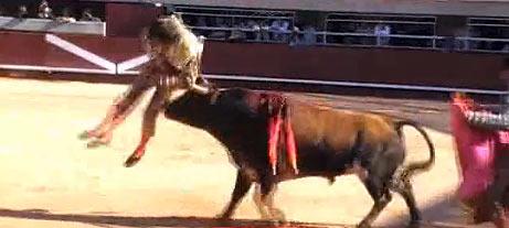 Antonio Barrera, encampanado por el toro. (FOTO: burladero.com)