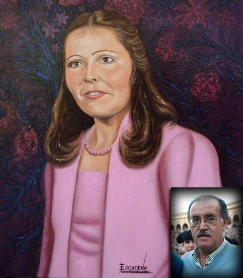 El óleo de Encarnita, esposa que fue de Paco Moreno, pintado por Pedro Escacena, gran amigo de Paco Moreno.
