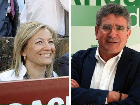 La delegadade la Junta en Sevilla, Carmen Tovar, y el consejero de Gobernación, Luis Pizarro.