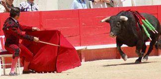 Morante, cita al toro sentado en Nimes.