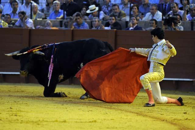 La imagen los resume todo: novillo y novilleros de rodillas, por los suelos. (FOTO: Sevilla Taurina)