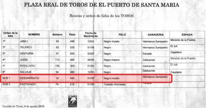 Acta del sorteo de El Puerto para la corrida del 8 de agosto; el primer sobrero se lidiaría mes y medio después en la Maestranza en tercer lugar. En El Puerto pesó, según el acta, 495 kilos; en Sevilla 50 kilos más. (CLICK PARA AMPLIAR)