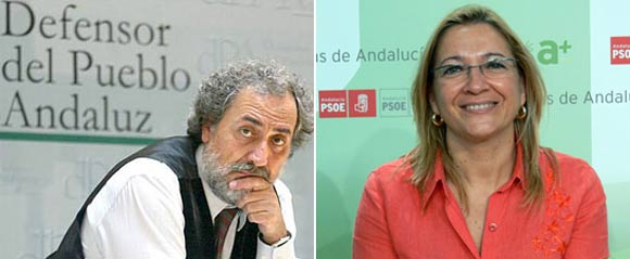 José Chamizo -Defensor del Pueblo Andaluz- y la delegada de la Junta en Sevilla, Carmen Tovar.