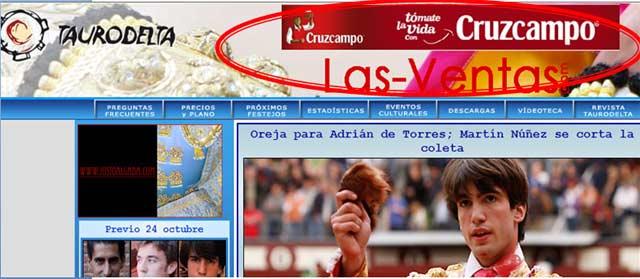 Portada del portal las-ventas.com, con el patrocinio en exclusiva de Cruzcampo.
