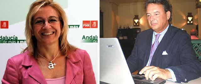 La delegada de la Junta, Carmen Tovar, y el ganadero Carlos Núñez, en el encuentro de burladero.com.
