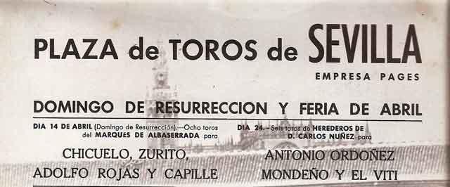 Cabecera del cartel de la Maestranza en 1968.