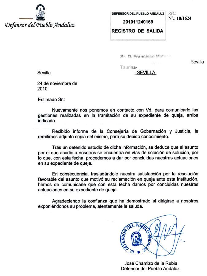 Resolución final del Defensor del Pueblo Andaluz sobre el caso del veto a SEVILLA TAURINA.