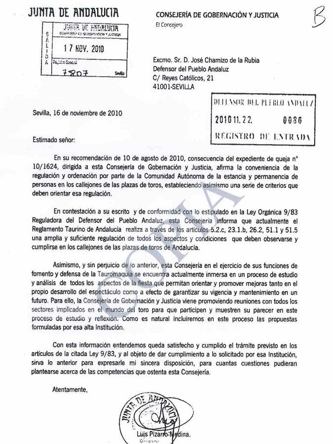 Respuesta del consejero de Gobernación, Luis Pizarro, al Defensor del Pueblo Andaluz.