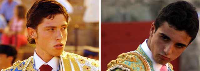 El novillero Ángel Jiménez y el diestro Miguel Ángel Delgado. (FOTOS: Matito y Javier Martínez)