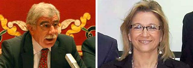 Manuel Brenes, director general de Espectáculos Públicos de la Junta de Andalucía, y Carmen Tovar, delegada de la Junta en Sevilla.