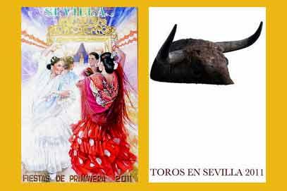 A la izquierda, el cartel de la Feria 2011, y a la derecha el cartel taurino 2011.