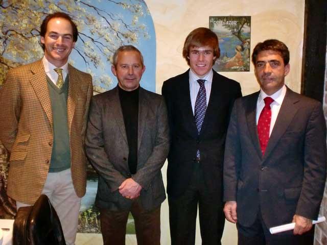 Fernando Domecq, Román Rodríguez (concejal de Fiestas), Javier Jiménez y Victorino Martin, tras la entrega de premios.