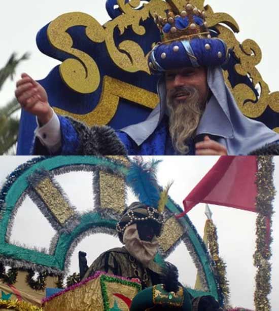 Arriba, Pepín Liria como rey Melchor en Triana. Abajo, el novillero sevillano Daniel Muñoz como rey Baltasar en la del barrio de Puerto-Heliópolis. (FOTOS: Arte Sacro y Sevilla Taurina)