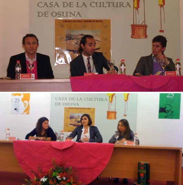 Arriba, Rafaelillo y Daniel Luque, con el periodista David Casas. Abajo, las intervenciones de las periodistas sevillanas Inma León y Lorena Muñoz.
