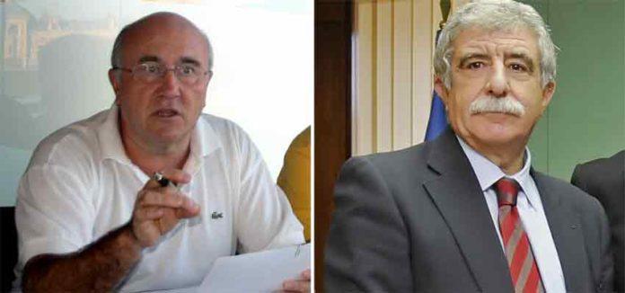 El presidente de los abonados sevillanos, Diego Martínez, y Manuel Brenes, director general de Espectáculos de la Junta de Andalucía.