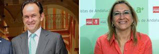 A la izquierda, Fernando Frnández-Figueroa, el nuevo presidente, y a la derecha la delegada de la Junta, Carmen Tovar, que lo ha nombrado como tal.
