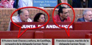 Familiares y amiguetes de la delegada Carmen Tovar campan a sus anchas por el burladero oficial e institucional de la Junta de Andalucía en la Maestranza durante la pasada temporada. (FOTO: Javier Martínez / SEVILLA TAURINA)