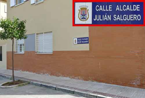 Calle en Castilleja que inauguró Carmen Tovar, dedicada a Julián Salguero. (FOTO: Paco Díaz / toroimagen.com)
