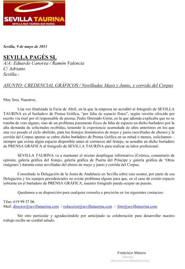 Petición realizada a la empresa de la Real Maestranza para las novilladas de mayo y junio, y el Corpus.