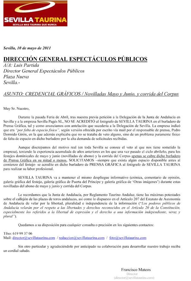 Petición realizada al director general de Espectáculos, el socialista Luis Partida.