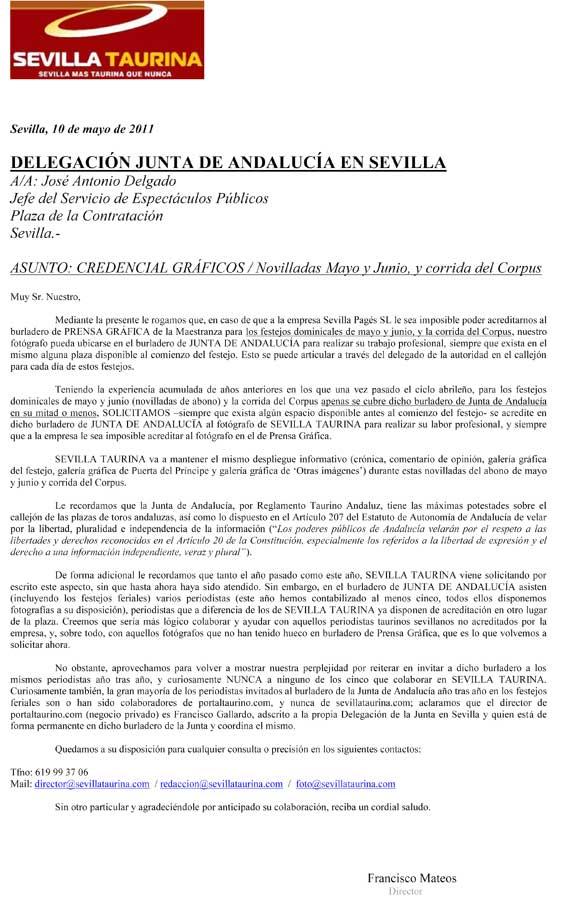 Petición ante la Delegación de la Junta en Sevilla, de la que es titular Carmen Tovar.
