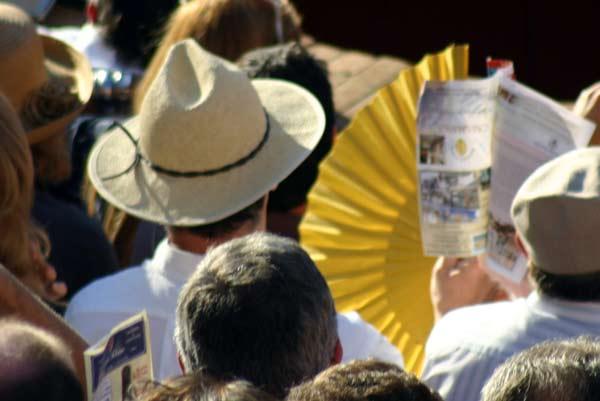 ¿No había otro calor? Mira que un abanico amarillo para los toros,... y de Miura además... (FOTO: Javier Martínez)