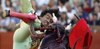 El pitón del toro atraviesa los gemelos de Curro Díaz. (FOTO: Arjona/lamaestranza.es)