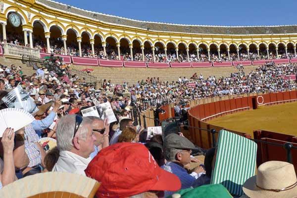 Amplios claros de cemento en los tendidos de la Real Maestranza de Sevilla. (FOTO: Javier Martínez)