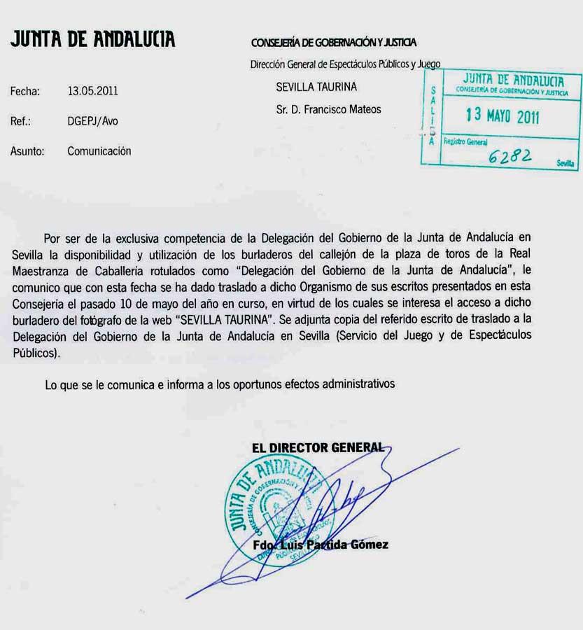 La respuesta evasiva del director general de Espectáculos Públicos de la Junta, el sociaista Luis Partida.