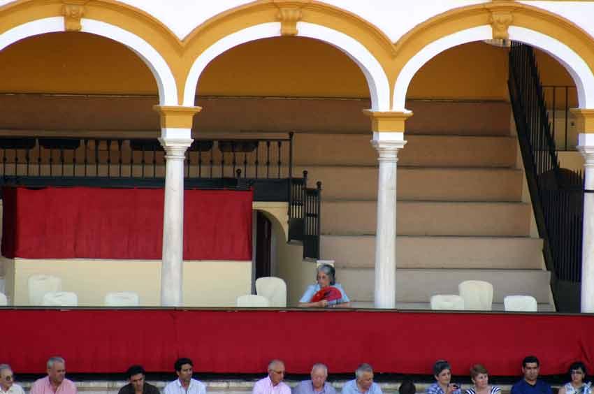 La ganadera de Marqués de Albaserrada, afición a prueba de calor. (FOTO: Javier Martínez)