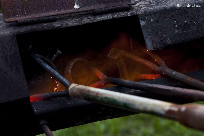 Los hierros al fuego vivo para el herradero.