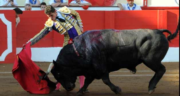 Daniel Luque toreando a un toro de Sorando esta tarde en Santander. (FOTO: mundotoro.com)