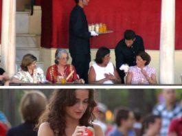 Arriba, camareros privados sirviendo bebidas a los maestrantes en vasos de cristal. Abajo, la seguridad de la plaza obliga a una joven a volcar el contenido de las latas a botellas de plástico y sin tapón para poder acceder a la plaza. (FOTOS: Javier Martínez)