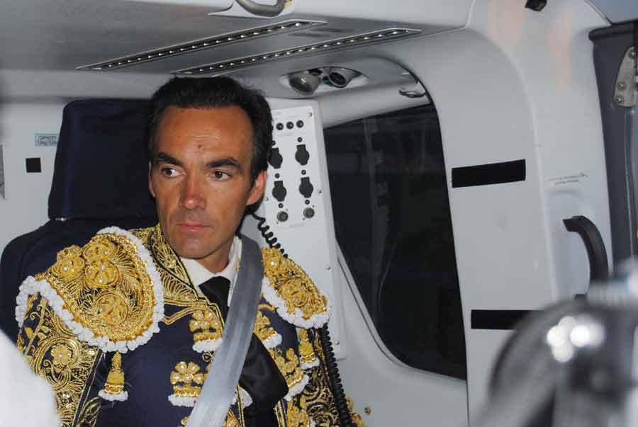 El helicóptero le trasladó hasta El Puerto de Santa María en apenas media hora.