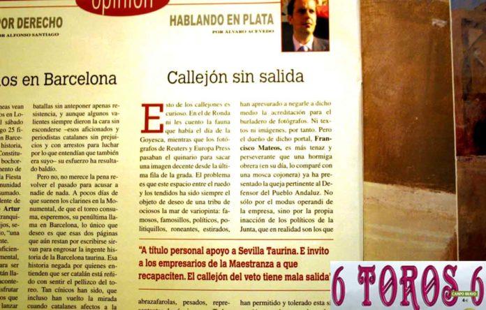 Extracto de la opinión de Acevedo publicada en '6Toros6' esta semana.